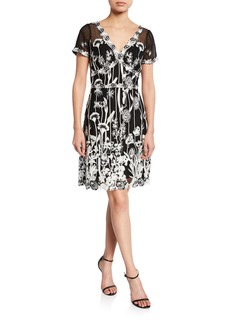 Marchesa Notte V-Neck Cap-Sleeve Embroidered Guipure Lace Dress