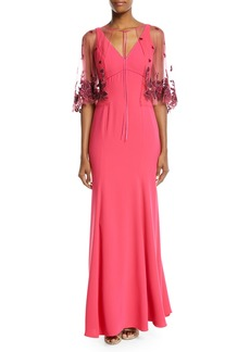 Marchesa V-Neck Crepe Gown w/ Beaded Cape