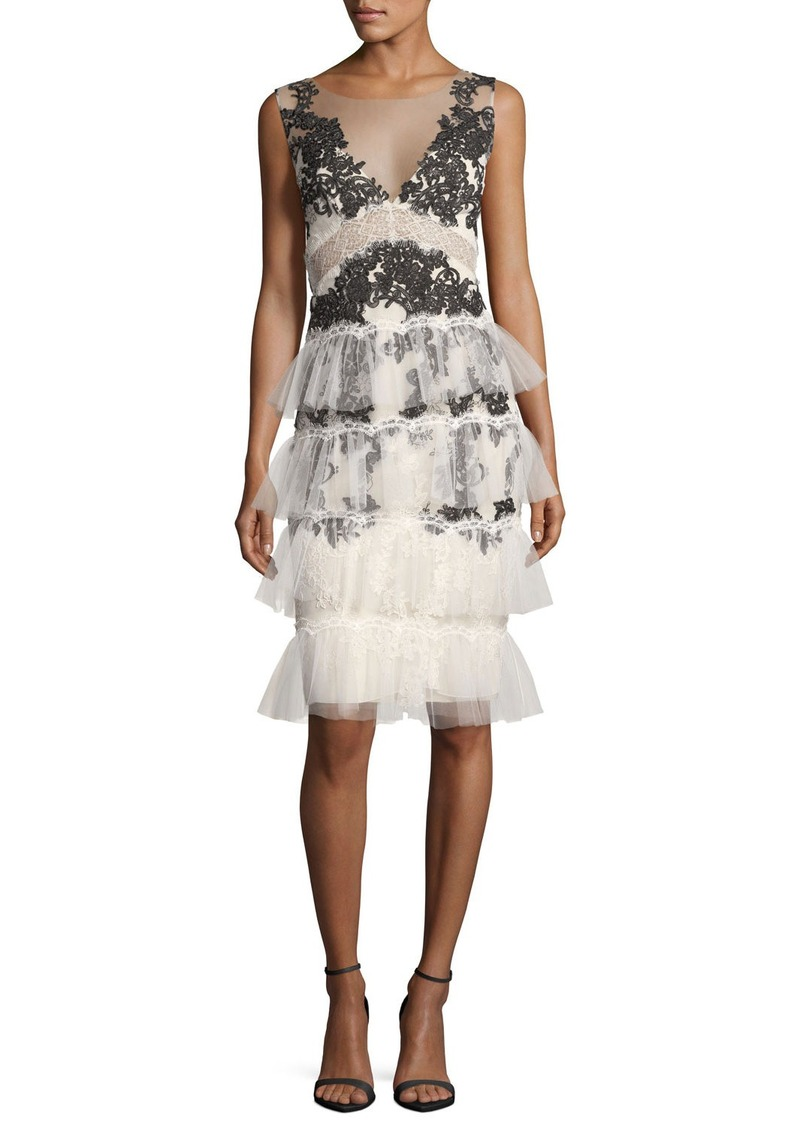 12c48569f277 Marchesa Marchesa Notte V-Neck Embroidered Lace Tiered Cocktail ...