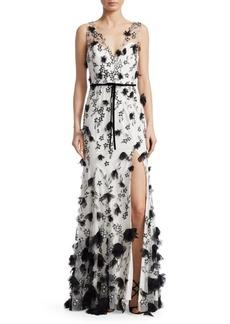 Marchesa V-Neck Floral Front Slit Mermaid Gown