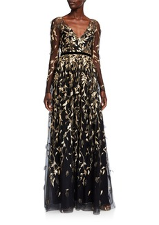 Marchesa Notte V-Neck Long-Sleeve Metallic Embroidered Gown w/ 3D Leaflets
