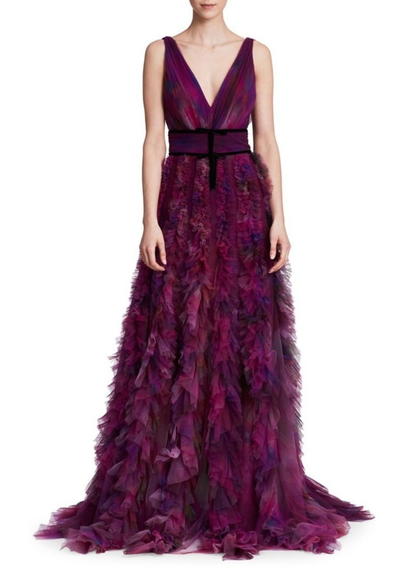 Marchesa Notte V-Neck Printed Textured Tulle Gown