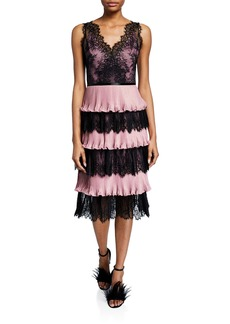 Marchesa Notte V-Neck Sleeveless Tiered Scallop Lace & Pleated Lame Cocktail Dress