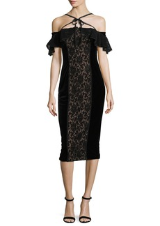 Marchesa Notte Velvet Off-the-Shoulder Midi Cocktail Dress w/ Lace