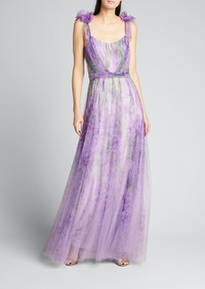 Marchesa Notte Watercolor Printed Tulle Gown with Draped Bodice