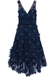 Marchesa Notte Woman Asymmetric Floral-appliquéd Glittered Tulle Dress Navy