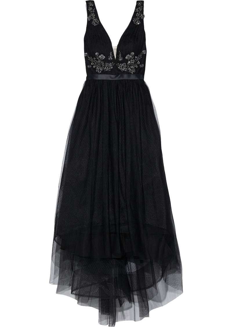 Marchesa Notte Woman Asymmetric Satin-trimmed Embellished Tulle Gown Black