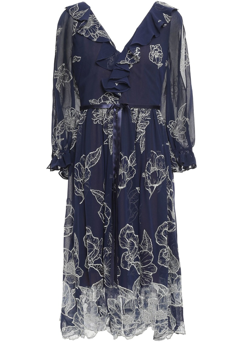 Marchesa Notte Woman Bow-embellished Scalloped Embroidered Chiffon Dress Navy