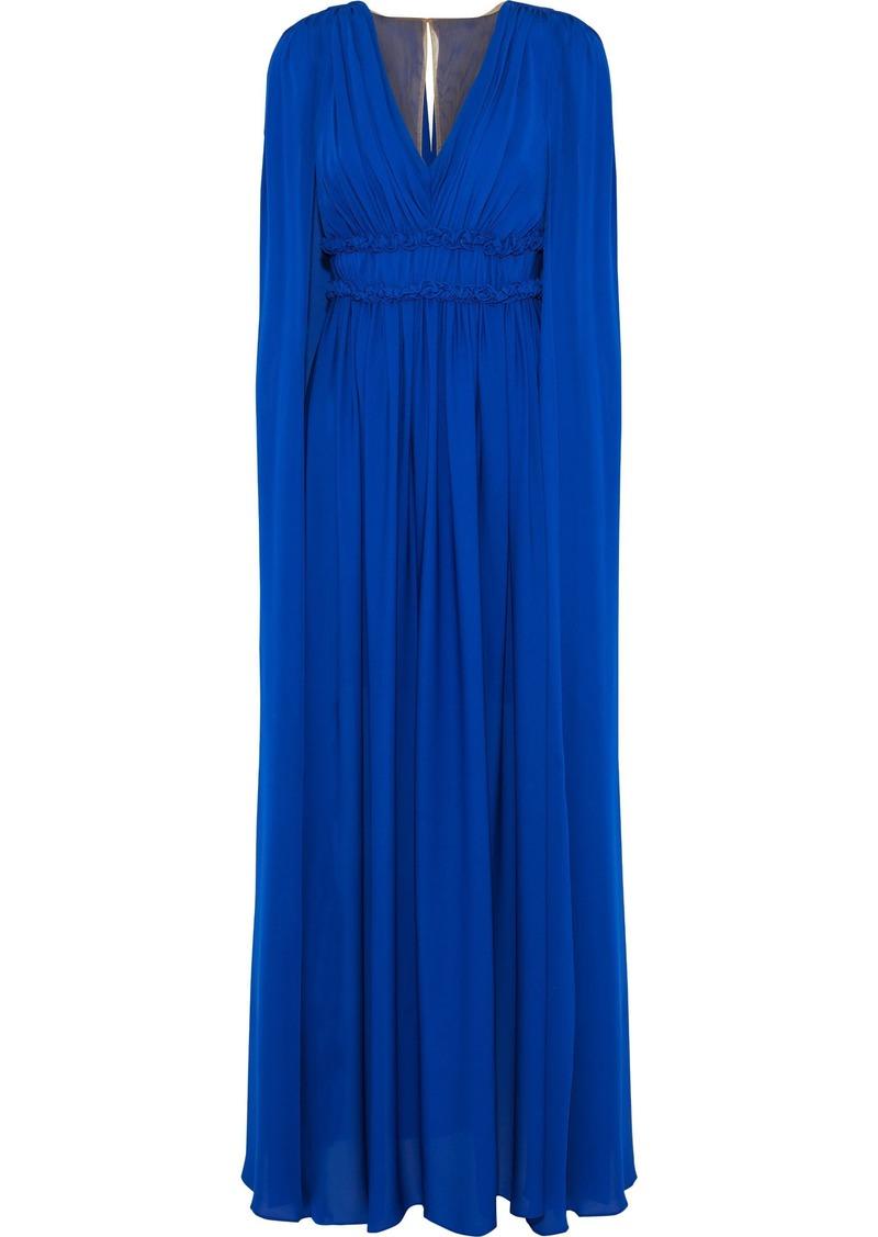 Marchesa Notte Woman Cape-back Pleated Silk-chiffon Gown Royal Blue