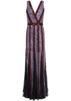 Marchesa Notte Woman Chantilly Lace-paneled Striped Sequined Tulle Gown Lavender