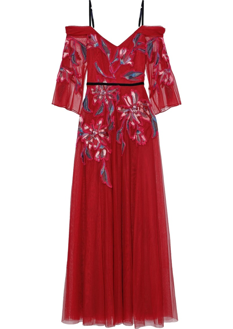 Marchesa Notte Woman Cold-shoulder Velvet-trimmed Embroidered Tulle Gown Crimson