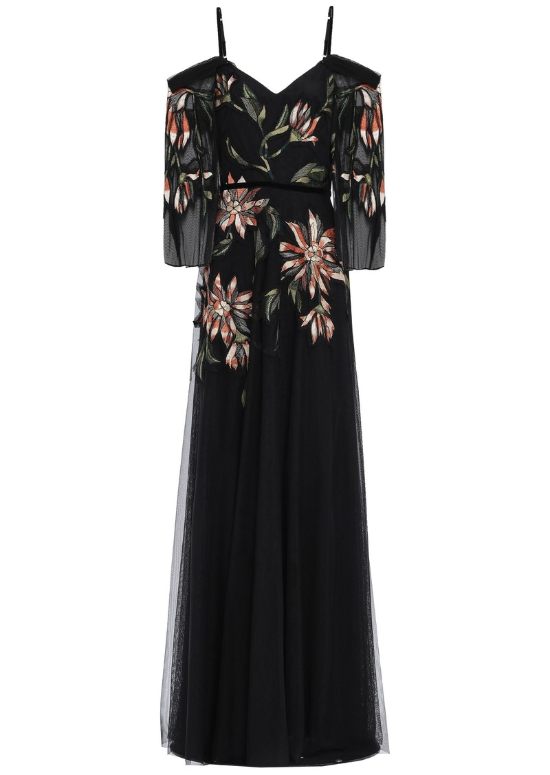 Marchesa Notte Woman Cold-shoulder Velvet-trimmed Embroidered Tulle Gown Black