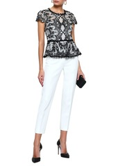 Marchesa Notte Woman Cutout Embroidered Corded Lace And Tulle Peplum Top Black