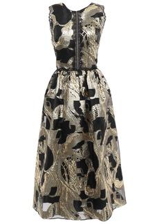 Marchesa Notte Woman Cutout Fil Coupé Chiffon Midi Dress Gold