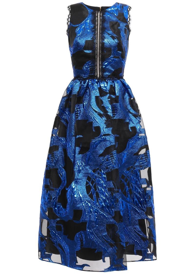 Marchesa Notte Woman Cutout Fil Coupé Chiffon Midi Dress Royal Blue
