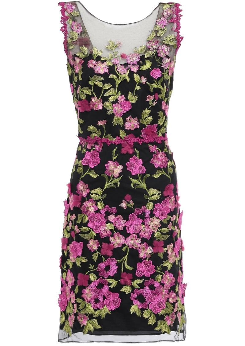 Marchesa Notte Woman Cutout Floral-appliquéd Embroidered Tulle Mini Dress Black