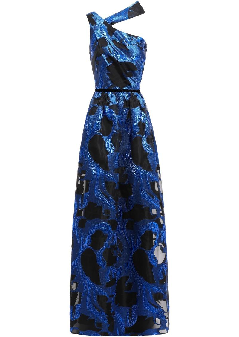 Marchesa Notte Woman Velvet-trimmed Metallic Fil Coupé Organza Gown Blue