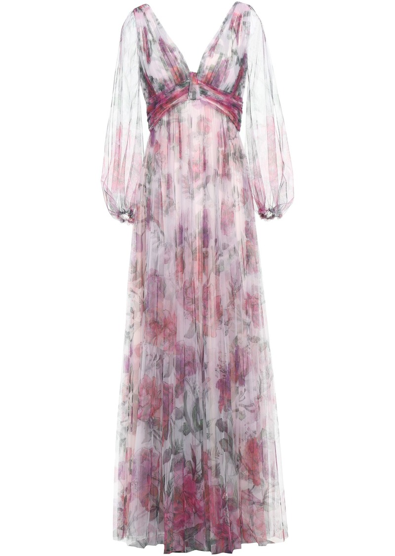 Marchesa Notte Woman Cutout Pleated Floral-print Tulle Gown Lilac