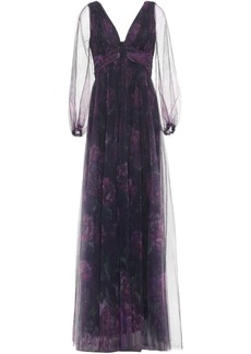 Marchesa Notte Woman Cutout Pleated Floral-print Tulle Gown Dark Purple