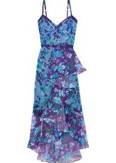 Marchesa Notte Woman Draped Floral-print Metallic Chiffon Midi Dress Blue