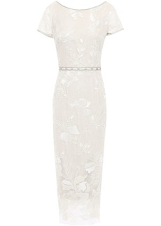 Marchesa Notte Woman Embellished Embroidered Tulle Midi Dress Ecru
