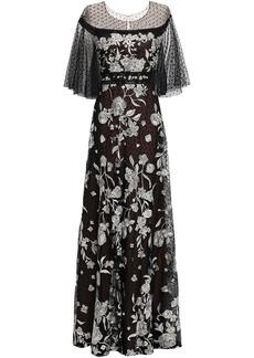 Marchesa Notte Woman Embellished Point D'esprit-paneled Tulle Gown Black