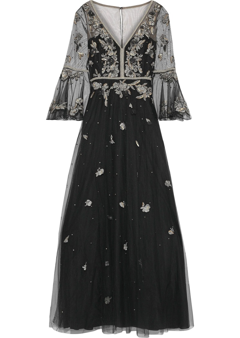 Marchesa Notte Woman Sequin-embellished Embroidered Tulle Gown Black