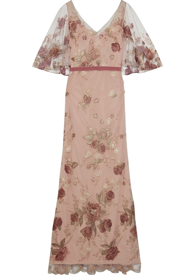 Marchesa Notte Woman Velvet-trimmed Embroidered Tulle Gown Blush