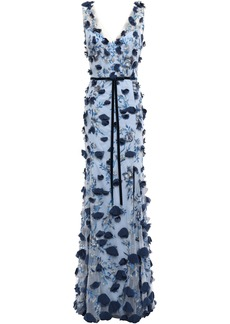 Marchesa Notte Woman Embellished Tulle Gown Light Blue