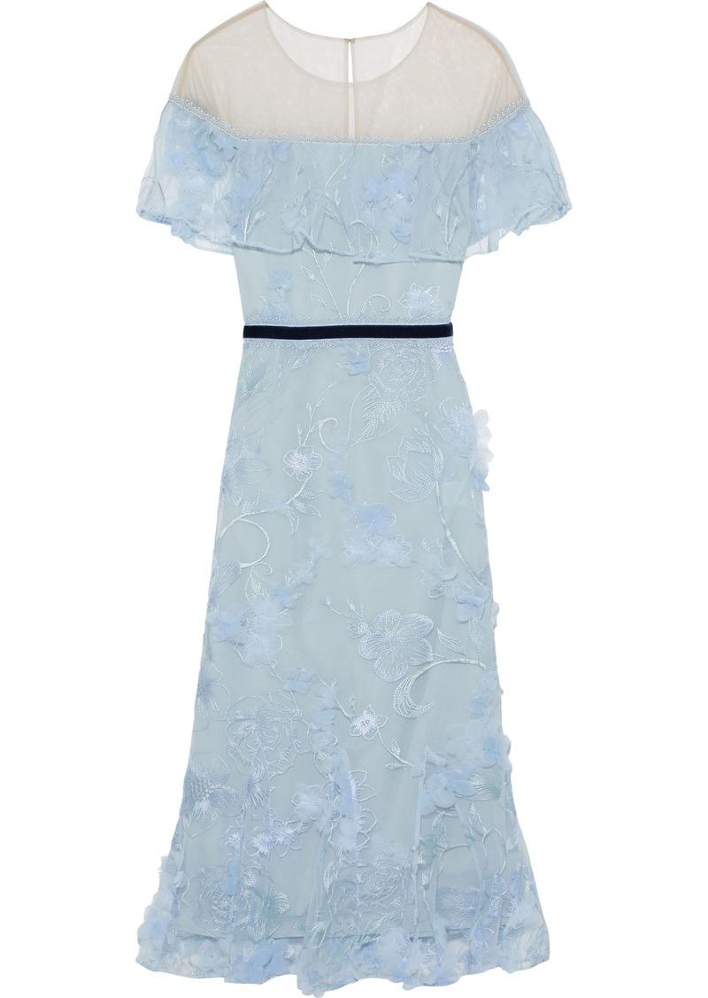 Marchesa Notte Woman Embellished Tulle Midi Dress Light Blue
