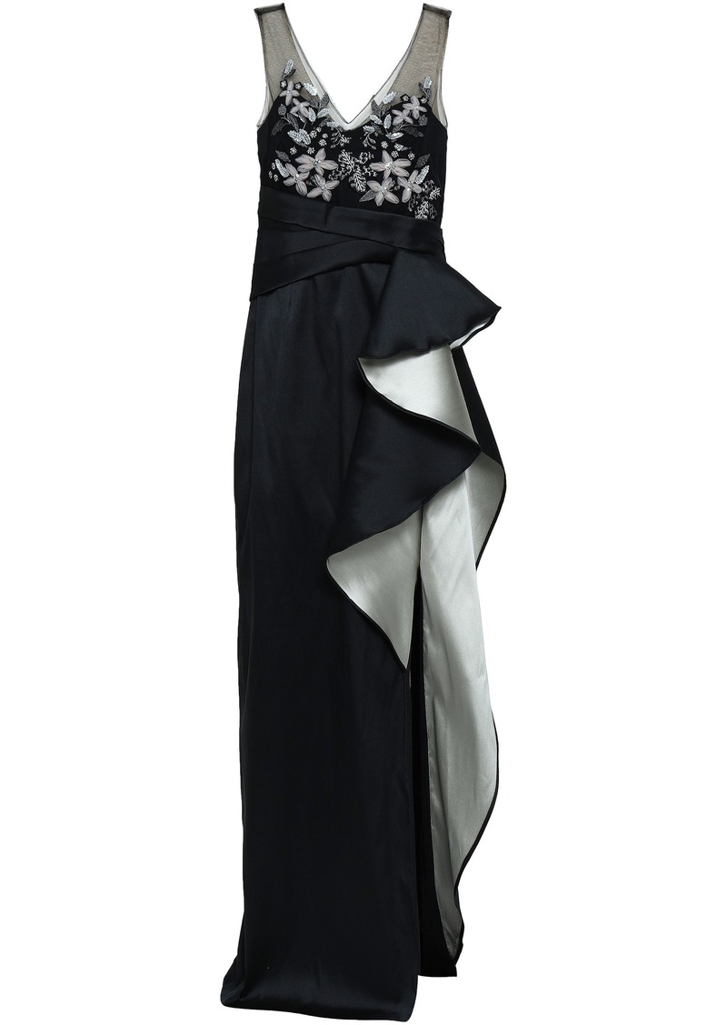 Marchesa Notte Woman Embellished Tulle-paneled Ruffled Duchesse-satin Gown Black