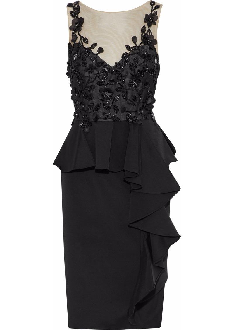Marchesa Notte Woman Embellished Tulle-paneled Ruffled Satin-crepe Dress Black