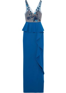 Marchesa Notte Woman Embellished Tulle-paneled Ruffled Peplum Stretch-knit Gown Blue