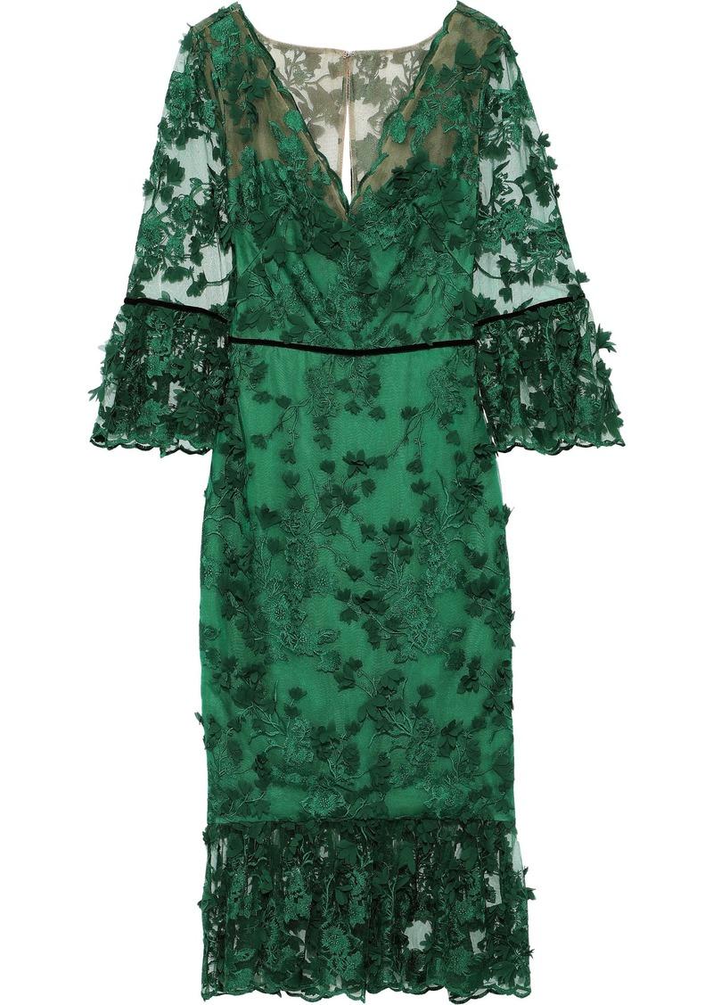 Marchesa Notte Woman Velvet-trimmed Floral-appliquéd Embroidered Tulle Midi Dress Forest Green