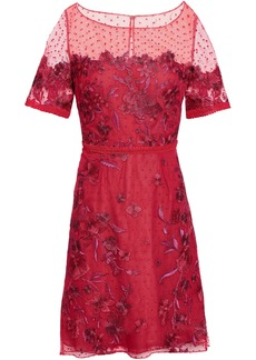 Marchesa Notte Woman Embroidered Flocked Tulle Mini Dress Crimson