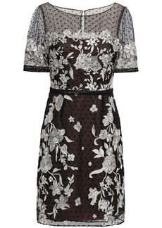 Marchesa Notte Woman Embroidered Flocked Tulle Mini Dress Black
