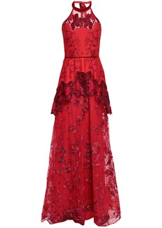 Marchesa Notte Woman Embroidered Neoprene And Flocked Tulle Halterneck Gown Crimson