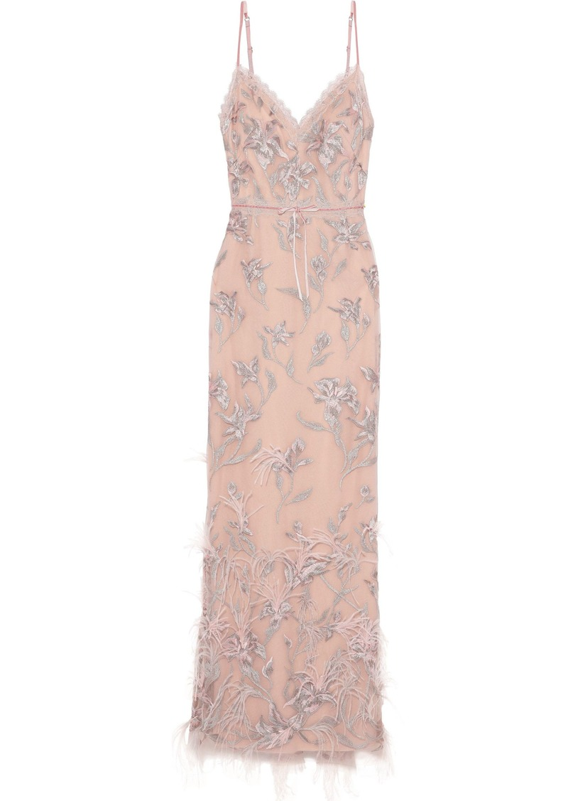 Marchesa Notte Woman Feather-embellished Embroidered Tulle Gown Pastel Pink