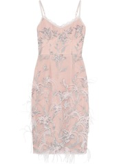 Marchesa Notte Woman Feather-embellished Embroidered Tulle Slip Dress Pastel Pink