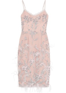 Marchesa Notte Woman Feather-embellished Embroidered Tulle Dress Pastel Pink