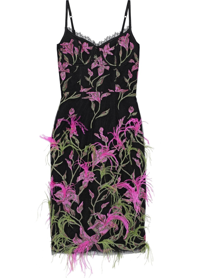 Marchesa Notte Woman Feather-embellished Embroidered Tulle Slip Dress Black