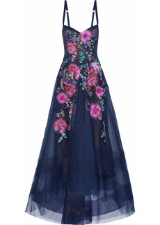 Marchesa Notte Woman Embellished Tulle Gown Navy