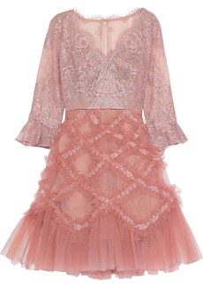 Marchesa Notte Woman Flared Appliquéd Tulle And Lace Dress Blush