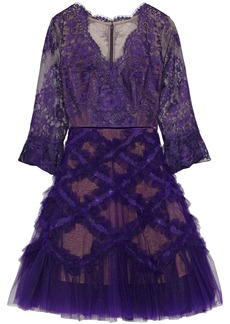 Marchesa Notte Woman Flared Appliquéd Tulle And Lace Dress Purple