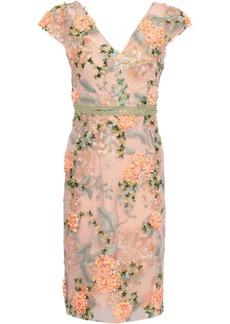 Marchesa Notte Woman Floral-appliquéd Embroidered Tulle Dress Peach