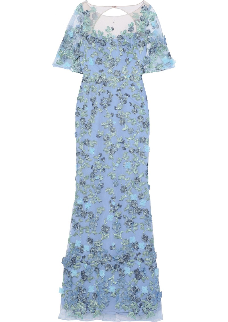 Marchesa Notte Woman Open-back Embroidered Tulle Gown Light Blue