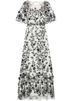 Marchesa Notte Woman Open-back Embroidered Tulle Gown White