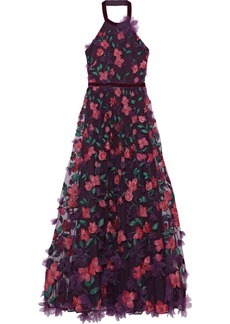 Marchesa Notte Woman Floral-appliquéd Embroidered Tulle Halterneck Gown Grape