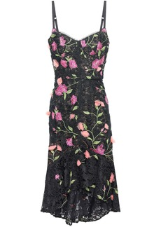 Marchesa Notte Woman Floral-appliquéd Grosgrain-trimmed Guipure Lace Dress Black