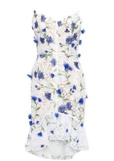 Marchesa Notte Woman Floral-appliquéd Grosgrain-trimmed Guipure Lace Dress Ivory